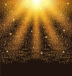 Golden falling sparkling particles and stars vector