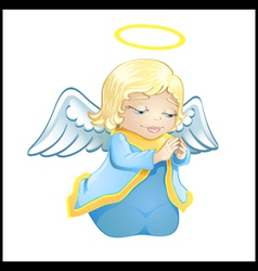 little angel in blue isolated vector image vector image