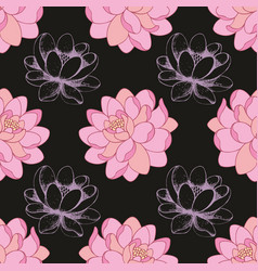 Pink flowers on a black background in combination vector
