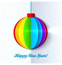 Rainbow shining colorful Christmas ball vector image vector image
