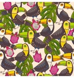 Seamless toucan and pitaya vector image