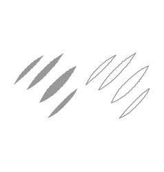 trail of claws icon grey set vector image