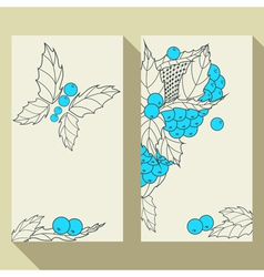 Business card set with hand drawn berries leaves vector image
