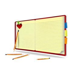 Notebook with pencil needle and heart vector