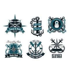 Retro marine and nautical heraldic emblems vector image