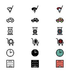 Travel responsive icons 12 vector