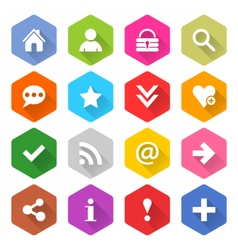 Flat basic icon set rounded hexagon web button vector image vector image