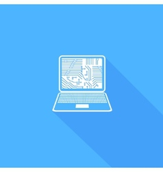 Flat long shadow laptop icons set vector image vector image