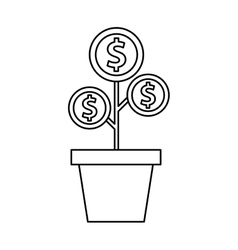 plant with coins funding icon vector image vector image