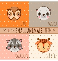 Set of face animals cartoon heads vector image vector image