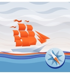 ship sea waves and compass vector image