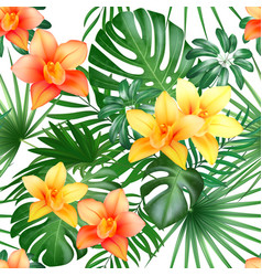 tropical seamless pattern with palm leaves and vector image vector image