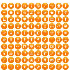 100 light icons set orange vector image