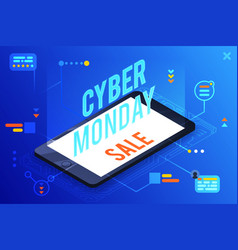 3d isometric cyber monday online sale smartphone vector image