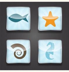 4 shiny icons vector image