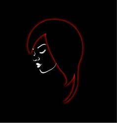 A beautiful girl in a red glowing hair vector