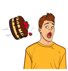 a festive chocolate cake with strawberries flies vector image
