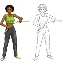 African American Nunchuck girl in sport uniform vector