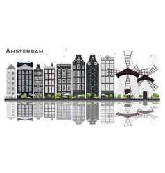 Amsterdam holland city skyline with gray vector