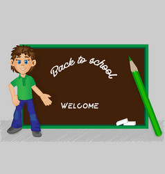 back to school boy school board pencil image vector image