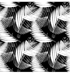 Black and white tropical seamless pattern vector