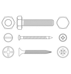 Bolt screws and nut white outline icons vector