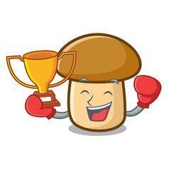 Boxing winner porcini mushroom mascot cartoon vector