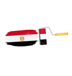 Brush stroke with egypt national flag isolated on vector