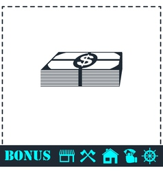 Bundle money icon flat vector