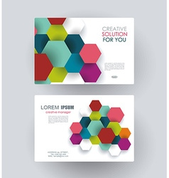 Business card design with paper hexagons vector