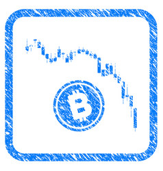 candlestick chart bitcoin fall framed stamp vector image