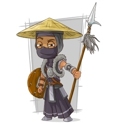 Cartoon samurai ninja in black mask vector image