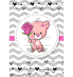 Cat with a flower vector image