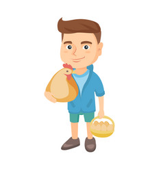 caucasian boy holding a chicken and hen eggs vector image