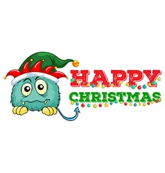 Christmas card design with monster and lights vector