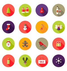 Christmas Circle Flat Icons Set 4 vector image