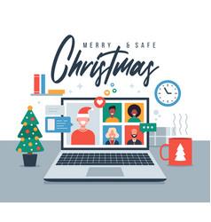 Christmas online greeting people meeting online vector
