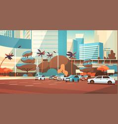 city car parking over skyscraper buildings modern vector image