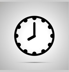 Clock face showing 8-00 simple black icon on vector