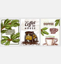 coffee cards in vintage style hand drawn engraved vector image