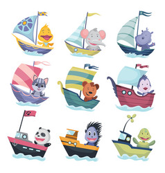 collection of cute animals sailing on boat or ship vector image