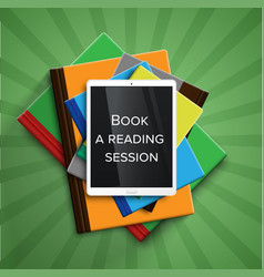 colorful books and a e-book readertablet vector image