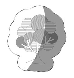 Contour stamp beautiful tree icon vector