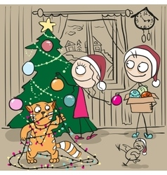 Couple decorates Christmas tree Red cat tangled vector