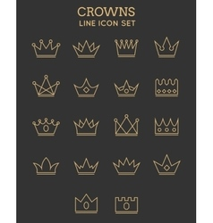 Crown line icon set vector image