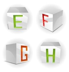 cube alphabet letters EFGH vector image