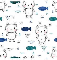 cute seamless pattern with little cat and fishes vector image