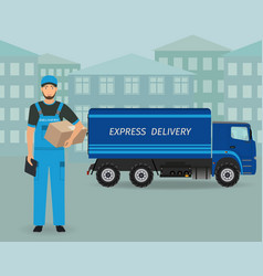 delivery employee character standing with folder vector image