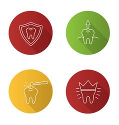 dentistry flat linear long shadow icons set vector image