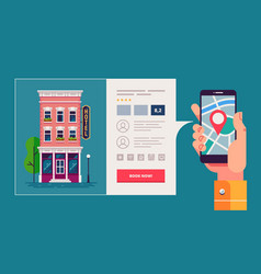 Design concept of hotel search and booking online vector